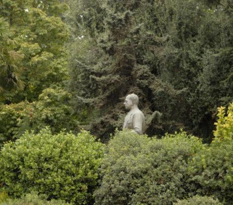 """<p>Al ingresar observarás una imponente estatua de bronce de Juan Yarur Lolas, abuelo de Jorge Yarur Bascuñán, fundador del museo. Los más de 13 mil metros cuadrados de jardines, fueron diseñados y creados a comienzos de los años 60, por el paisajista chileno-japonés Luis Nakagawa.</p> <h1>NUESTROS JARDINES</h1> <p>En este oasis alejado del ruido de la ciudad, encontrarás especies florales y árboles únicos que provienen principalmente de otros países. Entre ellos, un Ceibo (árbol nacional de argentina) que posee racimos en forma similar a la cresta de un gallo y que con sus flores color rojo carmín, da colorido a los jardines en primavera.</p> <p>También, llamarán la atención los Cedros de copa frondosa y siempre verde que dan bellas flores blancas en primavera. En el transcurso del camino de adoquines, observarás árboles y arbustos de diversas variedades dentro de los que destacan el Crespón o """"árbol de Júpiter"""", que muestra grandes flores color rosa en verano.</p> <p>También, llamarán la atención los Cedros de copa frondosa y siempre verde que dan bellas flores blancas en primavera. En el transcurso del camino de adoquines, observarás árboles y arbustos de diversas variedades dentro de los que destacan el Crespón o """"árbol de Júpiter"""", que muestra grandes flores color rosa en verano.</p> <p>Dentro de los árboles que enmarcan la casa, se encuentran dosArces japoneses que contrastan con el paisaje, dependiendo de la época del año, pasando por tonalidades que van del verde claro al rojo rubí oscuro.</p> <p>La fuente de agua ubicada en el frontis de la casa, posee flores deLoto que duermen plácidamente en época de invierno, esperando que suba la temperatura del agua para florecer. Alrededor de la fuente y acentuando el estilo japonés, se observan plantas de Bambú acompañadas de un musgo colorido verde intenso.</p> <p>El jardín trasero de la casa, se compone en su mayoría por especies nativas. Acá, encontrarás especies endémicas chilenas como la Patagua, el Peumo y Quil"""